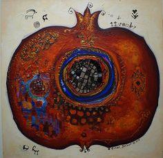 Hamsa Art, Pomegranate Art, Fruit Photography, Fruit Painting, Turkish Art, Guache, Fruit Art, Butterfly Art, Mixed Media Painting