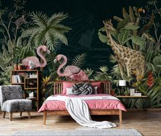 Botanical Wallpaper, Wallpaper Decor, Colorful Wallpaper, Jungle Safari, Wallpapers, Wallpaper, Backgrounds