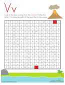 Kids follow the lava flow from a volcano to the ocean by following V's in the letter maze on this kindergarten reading worksheet.