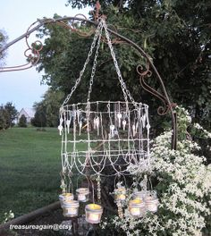 Cottage Garden Mason Jar Chandelier Shabby Chic Wedding or Vintage Garden Ball Jar Candle Lanterns, Upcycled Lighting, Keys, Garden Fence Wire Chandelier, Shabby Chic Chandelier, Mason Jar Chandelier, Hanging Mason Jars, Outdoor Chandelier, Modern Chandelier, Outdoor Lighting, Metal Garden Fencing, Rusty Garden