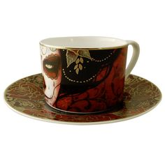 Limited Edition Tea/Coffee Cup & Saucers | Artist: Sylvia Ji. | Included inside the presentation box is an artist signed & sequentially numbered art print, plus a certificate of authenticity with Artist Bio. | Image 3 of 6