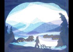 Transparentpapier Fensterbild zeigt ein Kind zieht einen Schlitten Heimat der verschneiten Dorf. Die Silhouette Rahmen in überwiegend blautöne mit Aquarellfarbe bemalt. In den Rahmen geschnitten...