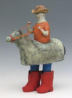clay ceramic sculpture animal cowboy sara swink