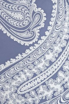 Rajapur Paisley Wallpaper - Large design Paisley print wallpaper in french blue with white design.