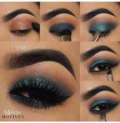 Eye makeup with tones of blue