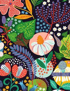 patterns by quenalbertini - Summer garden pattern by Helen Dardik - via orangeyoulucky.blogspot...