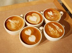 I am so in love with latte! The design (I don't know what's the right name for it) on top of the latte amazes me. Check out these cute latte. Coffee Latte Art, I Love Coffee, Coffee Break, My Coffee, Irish Coffee, Coffee Shop, Coffee Cups, Cappuccino Art, Black Coffee