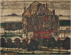 Einzelne Häuser by Egon Schiele   Christie's A personal, melancholic expression painted at a time when the newly married artist was just about to go off to war — offered on 27 June 2017, in London. Egon Schiele (1890-1918), Einzelne Häuser (Häuser mit Bergen) (recto); Mönch I (fragment; verso), 1915. Oil on canvas. 431 × 55 in (109.8 × 139.8 cm). Estimate: £20-30 million. This work is offered in the Impressionist and Modern Art Evening Sale on 27 June at Christie's London.