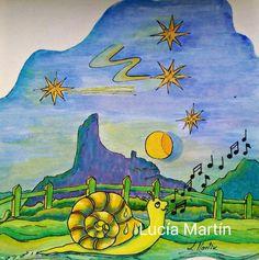 """Ilustración  de Lucía Martín  para el cuento  """"Caracol Aventurero"""" de J.Nieto."""