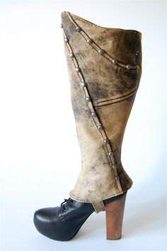 Leather spats upcycled handmade / studded Steampunk by hausofmirth, $120.00