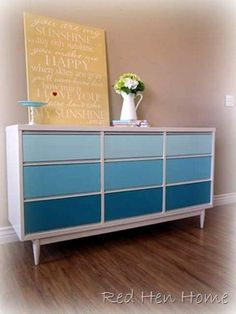 DIY tutorial ombre dresser (thrifty furniture makeover) from redhenhome.blogspot.com - pretty!