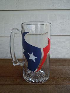 Perfect for football season! Other teams available :o)  Houston Texans Football Beer Mug. $12.50, via Etsy.