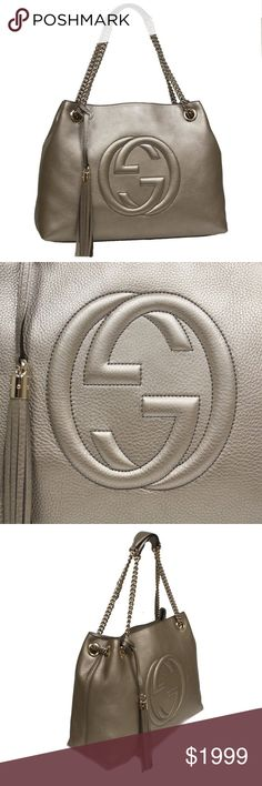 80bf6cb6355 NWT GUCCI Soho Golden Metallic Beige Handbag •NWT Gucci Soho Interlocking  GG Golden Metallic Beige
