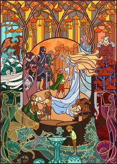 Lord of the Rings Stained Glass-Style Art by Jian Guo - Neatorama