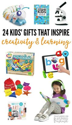 24 Kids' Gifts that Encourage Learning and Creativity - from books to STEM toys to craft kits and more - a 2016 Holiday Gift Guide from B-Inspired Mama