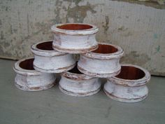 White Distressed Wooden Napkin Rings Set of 6  $12
