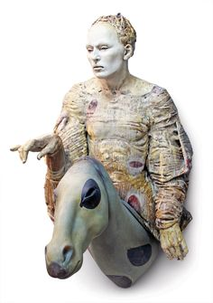 Cristina Córdova and Martin Janecky's Jinete, 31 in (79 cm) in height, ceramic, glass, resin, 2011.