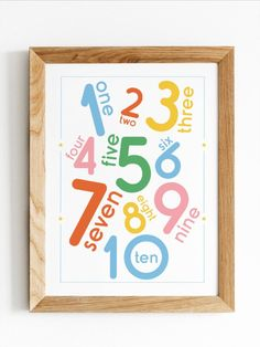 Colourful numbers poster that can be used as decor or a teaching and learning tool. Great as a teaching tool for little ones to learn how to count from one to ten. Perfect for a playroom, nursery or classroom. Kids Wall Decor, Kids Room Wall Art, Diy Wall Art, Room Decor, Printable Numbers, Printable Wall Art, Playroom Art, English Games, Numbers For Kids