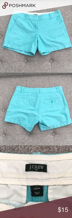 J.Crew Factory turquoise shorts size 2 J. Crew Factory City Fit shorts size 2. Light turquoise. Very good used condition. Measurements to be posted soon. Cotton, machine wash. J. Crew Factory Shorts
