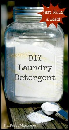 DIY Laundry Detergent – $0.02 a Load! http://thepaleomama.com/2014/01/diy-laundry-detergent-0-02-load/