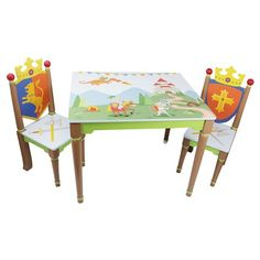 Knights & Dragons Table & Set of 2 Chairs - Teamson