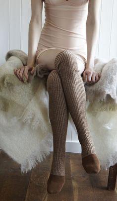 Tweedy Knit Socks by Plümo. Just looks comfy for fall. Mode Mori, Moda Crochet, Knitting Socks, Knit Socks, Cozy Socks, Into The Fire, Winter Mode, Winter Chic, Winter Wear