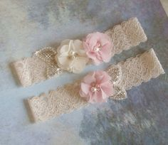 Lace Wedding Garter Set, Blush Wedding Garter, Bling Garter Belts, Bridal Garter, Lace Garder Set, Bridal Lingerie, Rhinestone Garter by bridalambrosia on Etsy