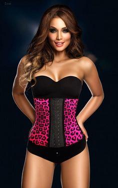 The Pink Color Leopard Print Latex Rubber Corset Waist Training Cincher christinzhang9@gmail.com