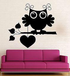 Wall Stickers Vinyl Decal Cute Owl Bird Love Romantic Heart Cool Decor (ig312)