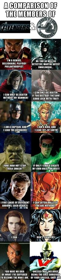 Funny marvel vs dc character comparison