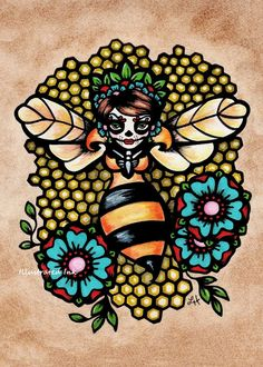 Day of the Dead Art Sugar Skull QUEEN BEE Print by illustratedink