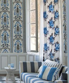 Designers Guild blue and white wallpaper and fabric