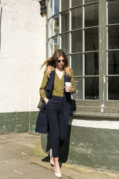 Chic work outfit, sleeveless blazer, navy tailored trousers, olive green silk shirt, nude court shoes