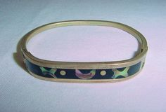 Vintage 1960s-1970s IRIDESCENT Mother of Pearl or ABALONE BRACELET Marked MEXICO
