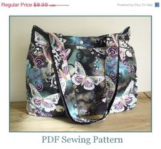 SALE Sewing Pattern Tote Bag with Gusset  PN102 by SusieDDesigns, $6.74.  Lovely sophisticated fabric