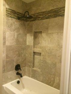 42 Ideas Bath Room Remodel Bathtub Tile Tub Surround For 2019 Room Tiles, Bathroom Floor Tiles, Bathroom Renos, Tan Bathroom, Basement Bathroom, Bathtub Remodel, Shower Remodel, Bathtub Tile Surround, Simple Bathroom