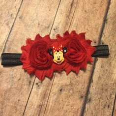 Custom order Minnie Mouse headband hair bow shabby flower