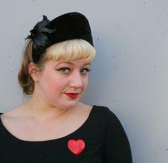1940s feathered black velvet halo hat