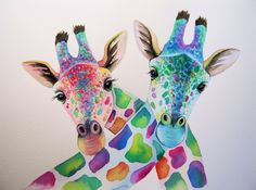 Two giraffes watercolour painting by artist Maria Moss. Prints of this and many other paintings available for sale.