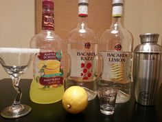 Raspberry Lemon Drop.  Combine in a shaker 1 oz Bacardi Limon, 1 oz Bacardi Razz, 1/2 oz Sweet and Sour and 1/2 oz simple syrup (sugar and a little was dissolved).  Shake over ice and pour into sugar rimmed martini glass. Not a drink for the light-hearted. Enjoy