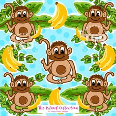 Monkey And Banana, Alone Art, Personalized Products, Repeating Patterns, Preppy, Paper Art, Print Design, Original Art, Stationery
