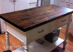 Butcher block island...i wonder if i can stain my butcher block island this color...???