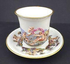 Rare Antique Meissen Cup & Saucer, Capodimonte Style