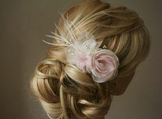 """Haarschmuck & Kopfputz - Blüten Perlen Haarschmuck """"Roxie""""zart rosa ivory - ein Designerstück von Elizabethmode bei DaWanda"""