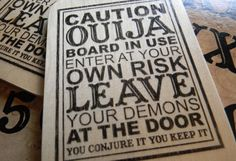 Wooden creepy little OUIJA Sign  Caution or by ForTheSeekers
