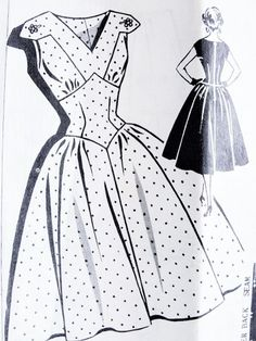 1950s Evening Cocktail Dress Pattern Patt O Rama 1331 Cupcake Party Dress Fitted Shaped Midriff V Neckline Full Skirted Dress Bust 34 Vintage Sewing Pattern FACTORY FOLDED