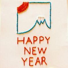 年賀状にも刺繍♪こんなに素敵な年賀状をもらったら宝物になりますね。