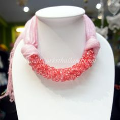 Pink scarf decorated with pink glass beaded
