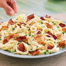 Fettuccine Carbonara with Chicken and Bacon Recipe | Safeway  We had this for dinner tonight with broccoli instead of peas and OMG soooo good!