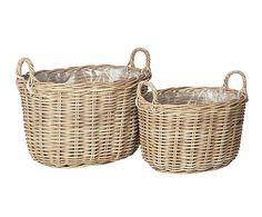 Set of 2 Oval rattan baskets - Grey